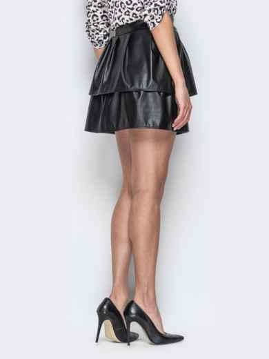 Двухъярусная юбка-мини из эко-кожи чёрная - 20736, фото 3 – интернет-магазин Dressa