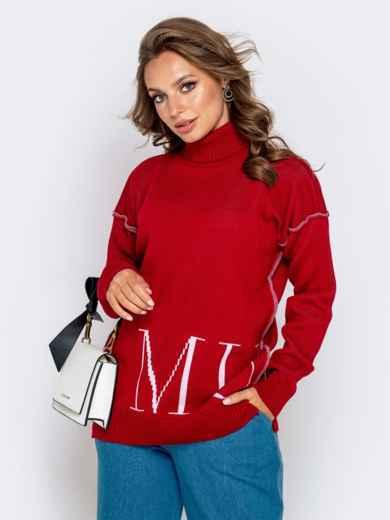 Красный свитер мелкой вязки с контрастной надписью 41181, фото 1