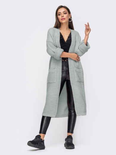 Oversize кардиган с накладными карманами серый 54811, фото 1