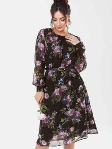 Платье батал из шифона с принтом и расклешенной юбкой черное 53660, фото 1