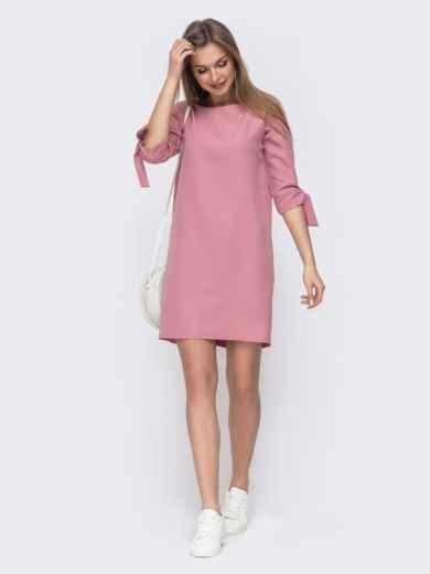 Прямое платье с завязками на рукавах розовое 45793, фото 1
