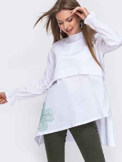"""Рубашка с вышивкой """"клевер"""" и асимметричным низом белая 49467, фото 1"""