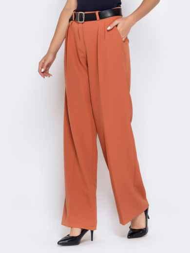 Широкие брюки оранжевого цвета с завышенной талией - 40501, фото 2 – интернет-магазин Dressa