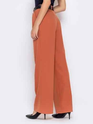 Широкие брюки оранжевого цвета с завышенной талией - 40501, фото 3 – интернет-магазин Dressa