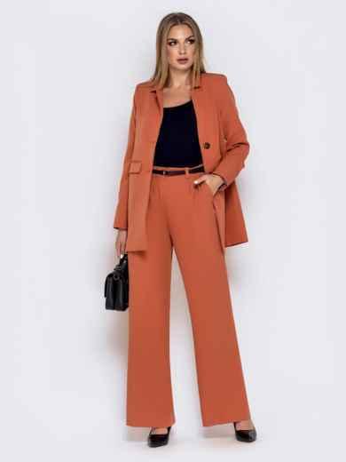 Широкие брюки оранжевого цвета с завышенной талией - 40501, фото 4 – интернет-магазин Dressa