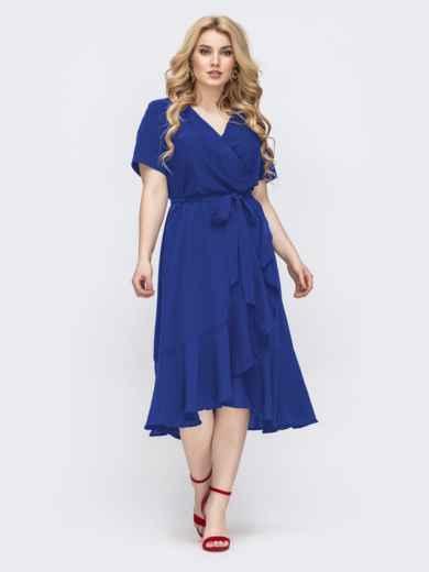 Синее платье батал с воланом по низу 49594, фото 1