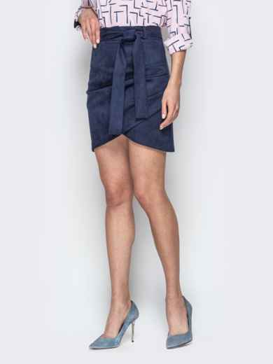 Синяя юбка-тюльпан из замши с поясом - 20734, фото 2 – интернет-магазин Dressa