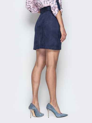 Синяя юбка-тюльпан из замши с поясом - 20734, фото 3 – интернет-магазин Dressa