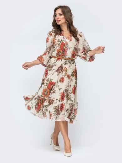 Бежевое платье с цветочным принтом и оборкой по низу - 45456, фото 3 – интернет-магазин Dressa