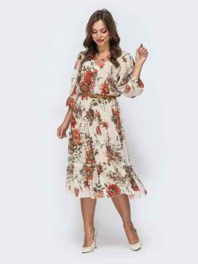 Бежевое платье с цветочным принтом и оборкой по низу - 45456, фото 4 – интернет-магазин Dressa