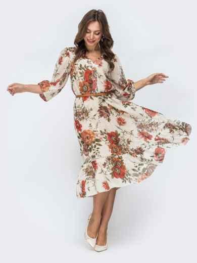 Бежевое платье с цветочным принтом и оборкой по низу - 45456, фото 5 – интернет-магазин Dressa