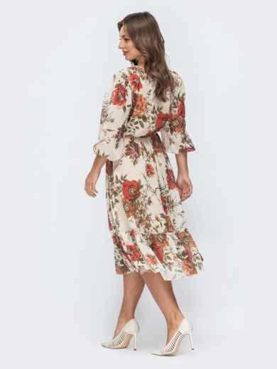 Бежевое платье с цветочным принтом и оборкой по низу 45456, фото 6