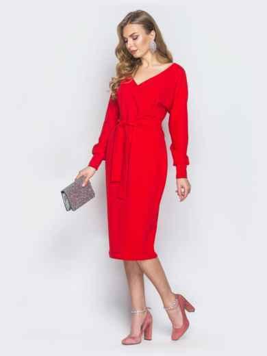 d99b5319321 Красное платье с фиксированным запахом и поясом в комплекте 18760 ...