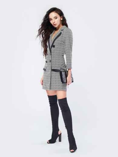 Платье-пиджак с зигзагообразным принтом - 17510, фото 2 – интернет-магазин Dressa