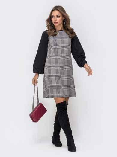 Платье в серую клетку из костюмки с рукавами реглан - 40964, фото 1 – интернет-магазин Dressa