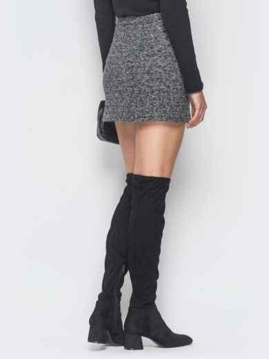 Серая юбка-мини из букле с пуговицами - 19075, фото 3 – интернет-магазин Dressa