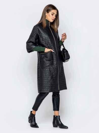 Стёганая куртка с накладными карманами чёрная 40867, фото 2