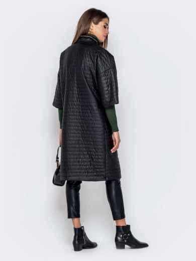 Стёганая куртка с накладными карманами чёрная 40867, фото 3