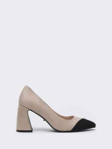Бежевые туфли из искусственной кожи на каблуке - 45480, фото 3 – интернет-магазин Dressa