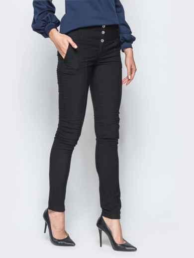 Брюки черного цвета на флисе с высоким поясом - 17739, фото 2 – интернет-магазин Dressa