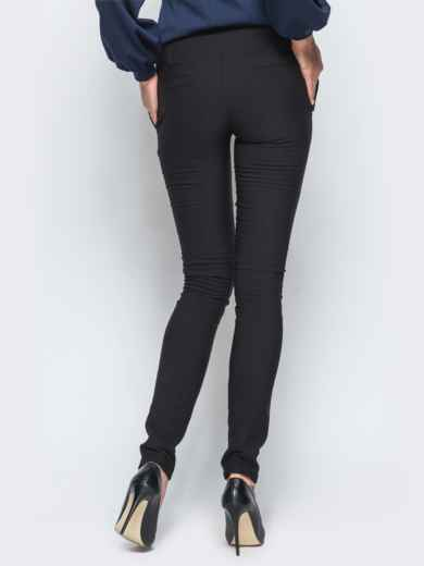 Брюки черного цвета на флисе с высоким поясом - 17739, фото 3 – интернет-магазин Dressa