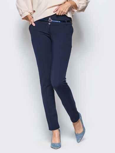 Брюки тёмно-синего цвета на флисе с высоким поясом - 17738, фото 1 – интернет-магазин Dressa