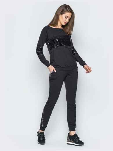 Черный комплект из двунитки с пайетками - 18990, фото 1 – интернет-магазин Dressa