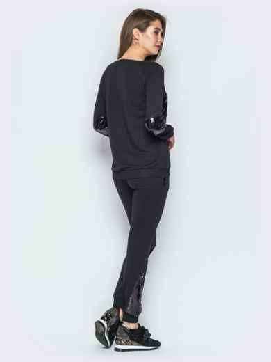 Черный комплект из двунитки с пайетками - 18990, фото 2 – интернет-магазин Dressa