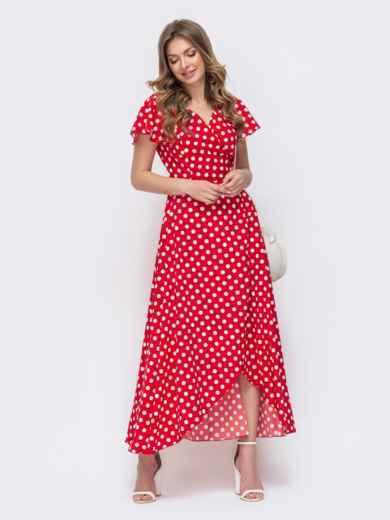 Длинное платье с запахом в горох красное 46648, фото 1