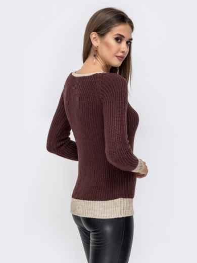 Коричневый свитер крупной вязки с накладным карманом 41573, фото 2