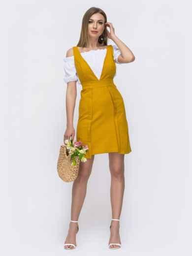Льняной комплект из сарафана и блузки жёлтый 46642, фото 2