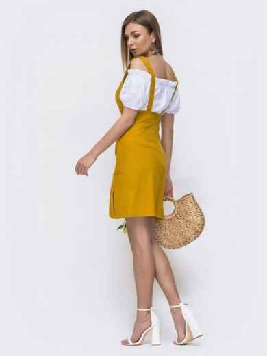 Льняной комплект из сарафана и блузки жёлтый 46642, фото 3