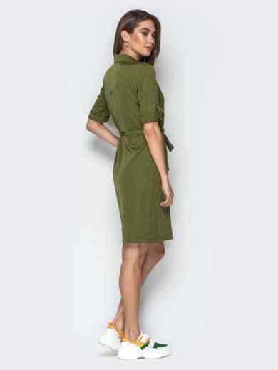 Платье-рубашка с поясом на кулиске и брошью хаки - 20358, фото 2 – интернет-магазин Dressa