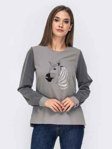 """Серая блузка с вышивкой """"зебра"""" и пуговицами по спинке 41475, фото 1"""
