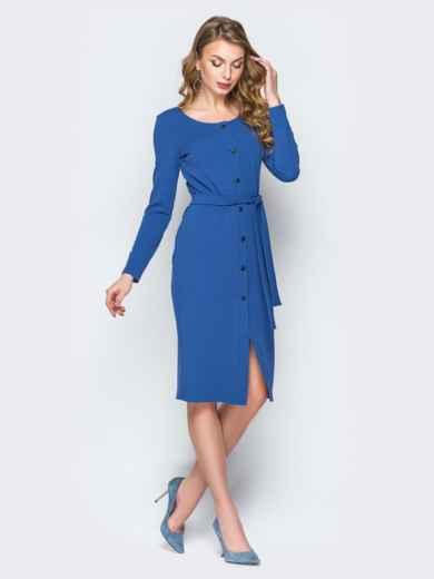 047eb858f24 Синее платье-футляр на пуговицах с поясом 20027 – купить в Киеве ...