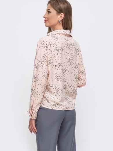 Свободная блузка из софта с принтом розовая 49518, фото 2