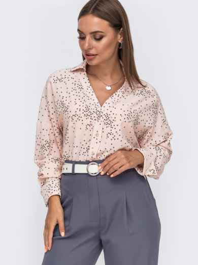 Свободная блузка из софта с принтом розовая 49518, фото 3
