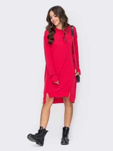 Свободное платье из трикотажа с рукавами-митинками коралловое 50965, фото 1