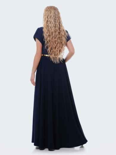 Тёмно-синее платье-макси с юбкой-полусолнце 28443, фото 2