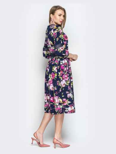 Тёмно-синее платье с цветочным принтом и кружевом - 20360, фото 2 – интернет-магазин Dressa