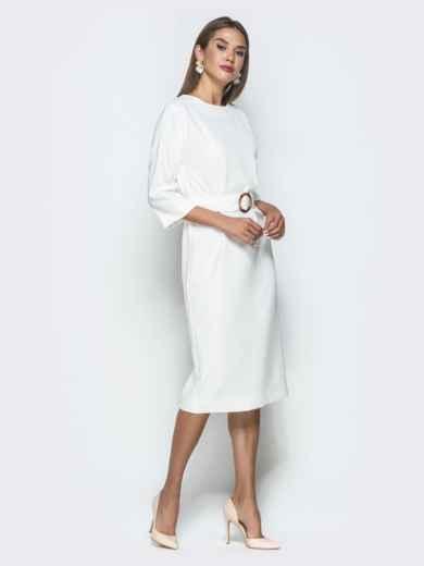Белое платье-миди с цельнокроеным рукавом - 40111, фото 2 – интернет-магазин Dressa