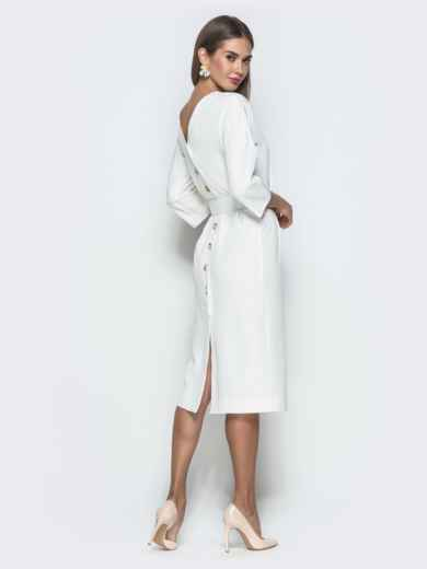 Белое платье-миди с цельнокроеным рукавом - 40111, фото 3 – интернет-магазин Dressa