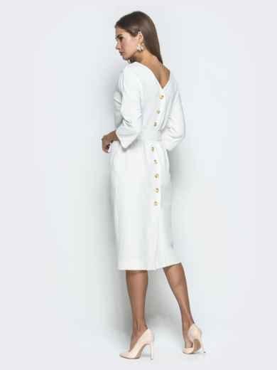 Белое платье-миди с цельнокроеным рукавом - 40111, фото 4 – интернет-магазин Dressa