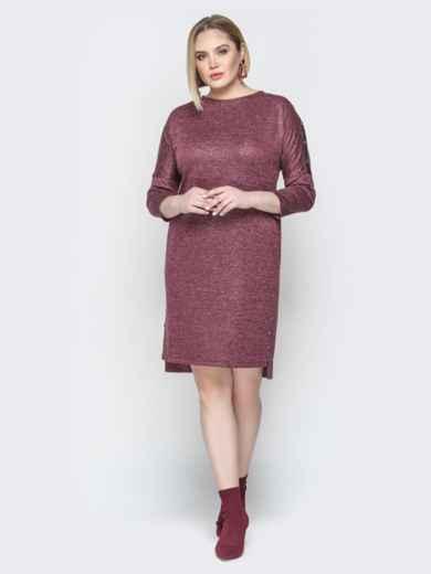 Бордовое платье с люрексом приталенного кроя и пуговицами 20364, фото 2