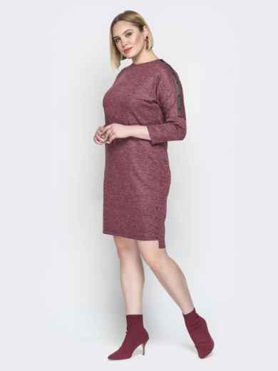 Бордовое платье с люрексом приталенного кроя и пуговицами 20364, фото 3