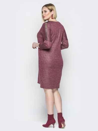 Бордовое платье с люрексом приталенного кроя и пуговицами 20364, фото 4