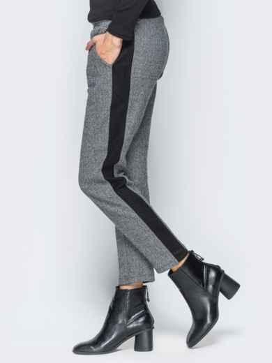 Брюки серого цвета из жаккарда - 17750, фото 5 – интернет-магазин Dressa