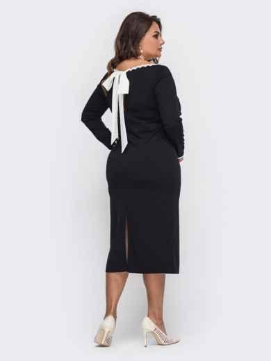 Чёрное платье батал с контрастным бантом по спинке 50699, фото 2