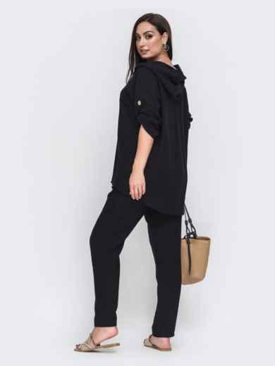 Черный комплект батал с блузкой на пуговицах спереди 49723, фото 2
