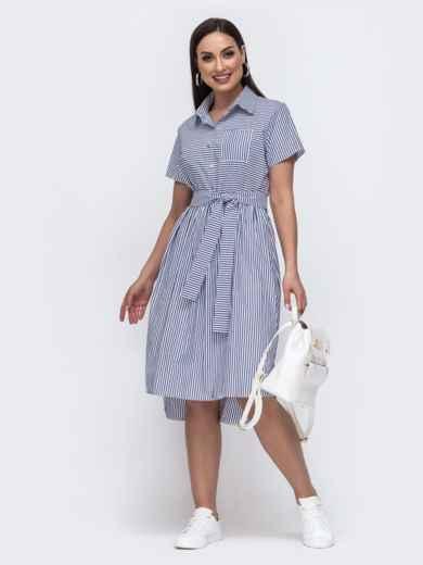 Платье-рубашка большого размера с удлиненной спинкой серое 46355, фото 1